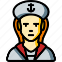 avatar, female, people, professional, professions, sailor, user icon