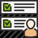account, check, list, profile, task, tick, user icon