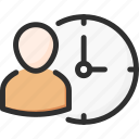 account, profile, time, user, watch icon