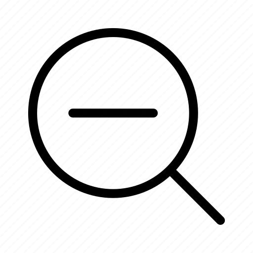 find, glass, magnifier, out, zoom icon
