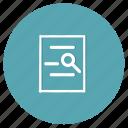 document, file, internet, paper, programming, programming language, search icon