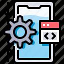 app, coding, develop, development, process, programming, smartphone icon