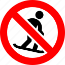 ban, no, prohibition, sign, snowboard, sport