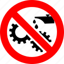 ban, cogs, forbidden, gears, lubricant, prohibition