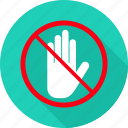 gesture, hand, prohibit, prohibited, sign, stop, wait icon
