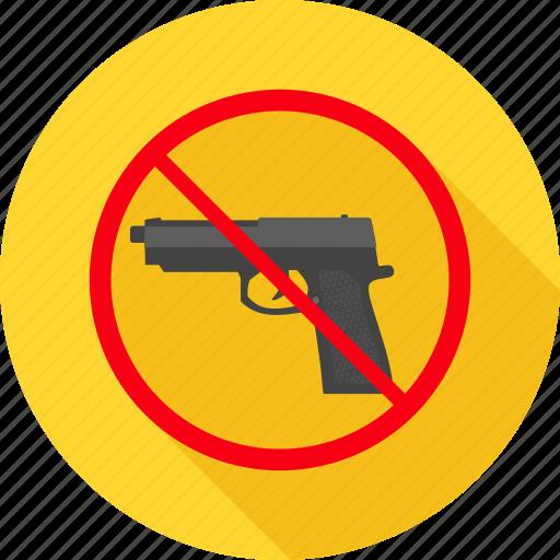 alert, attention, danger, gun, pistol, prohibited, revolver icon