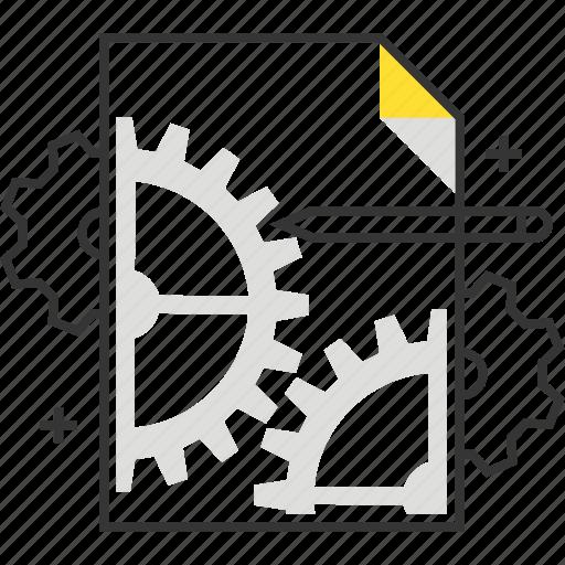 content, document, gear, management, paper, pen icon