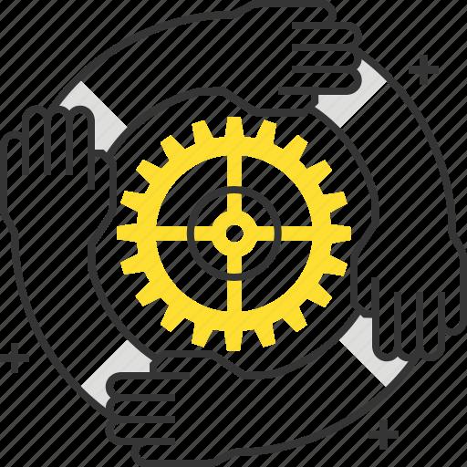 cog, gear, hands, help, idea, office, team icon