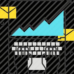 arrow, chart, computer, finance, laptop, type icon