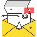 ad, cursor, mail, video icon
