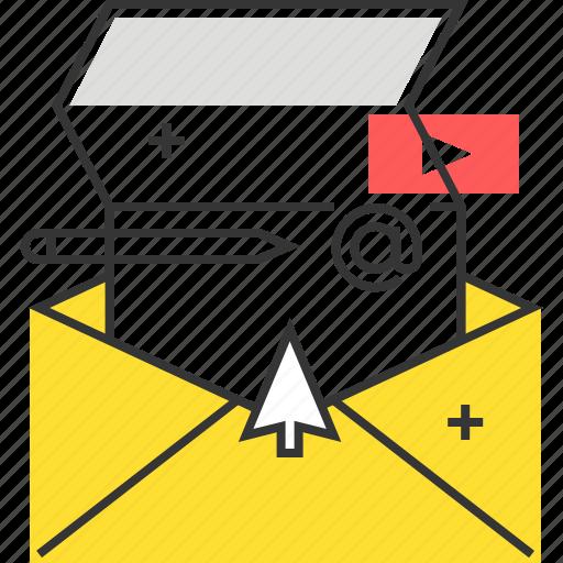 ad, cursor, mail, video icon