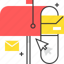 cursor, inbox, mail, mail box icon