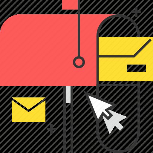 cursor, inbox, mail, mail box icon