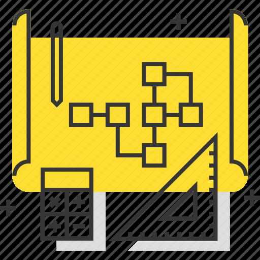 calculator, diagram, pen, scheme, work flow icon