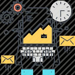 analytics, computer, data, economy, finance, hands, mail icon