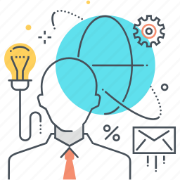 cloud, employee, gear, idea, lamp, mail, outsource icon