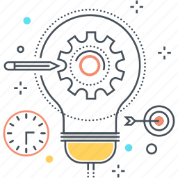 clock, cog, creativity, gear, idea, pen, target icon