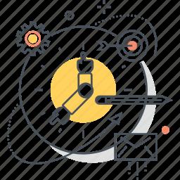 atom, clock, gear, mail, pen, target, tim icon