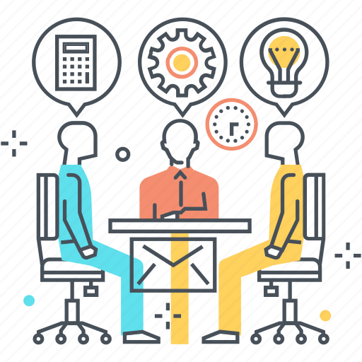 calculator, employee, idea, lamp, meeting, presentation, speech bubble icon