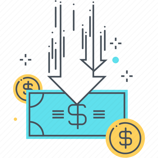 budget cut, coin, drop, fall, flow, money, paper money icon