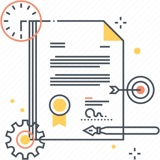 contract, document, pen, pencil, target icon