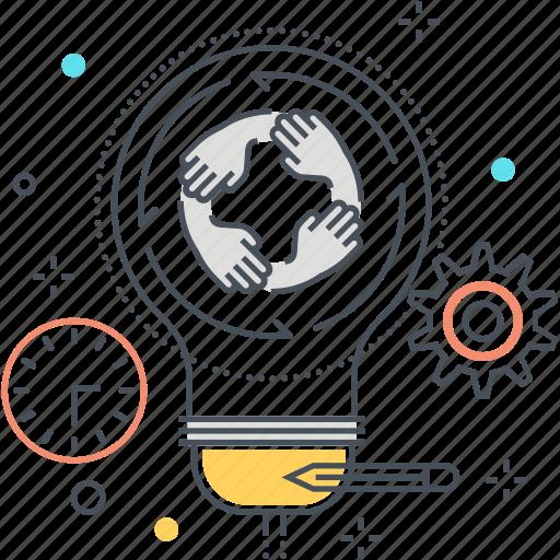 creativity, generation, hands, idea, lamp, team work icon