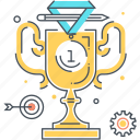 cup, first, gear, medallion, pencil, winner icon