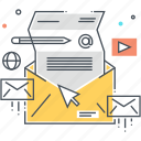 inbox, mail, mailbox, marketing, pen, pencil, video icon