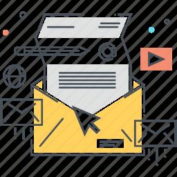 inbox, mail, mailbox, marketing, pen, pencil, video icon