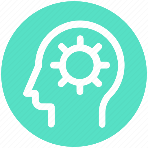 Head, gear, brain gear, strategy, head gear, brainstorming icon
