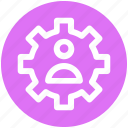 cog, gear, management, online, user, work icon