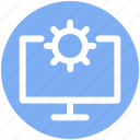 cog wheel, computer setting, lcd, screen, setting icon
