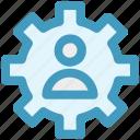 cog, gear, management, online, user, work icon