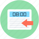 arrow, clock, data exchange time, time, time duration icon