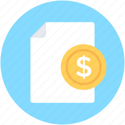 business contract, commerce sheet, contract, dollar paper, financial paper icon