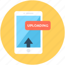 attachment, mobile, mobile uploading, upload arrow, upload data