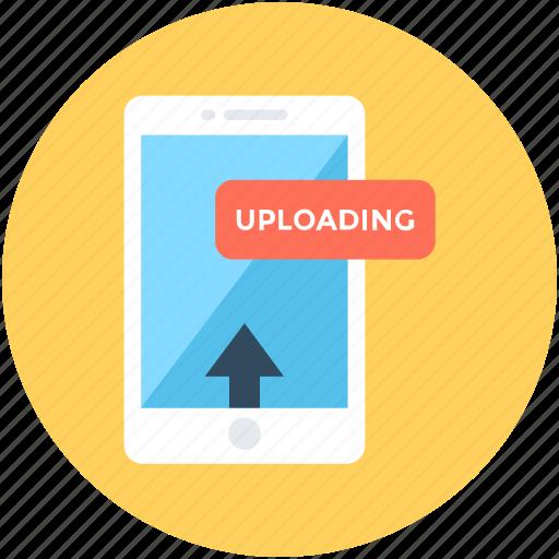 attachment, mobile, mobile uploading, upload arrow, upload data icon