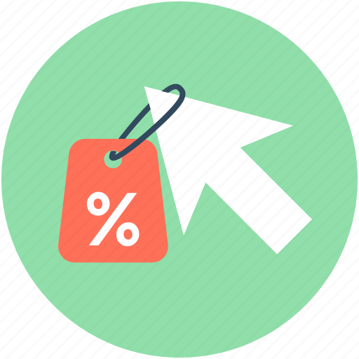 click, cursor, discount label, discount offer, discount tag icon