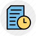 clock, document, page, sheet, time
