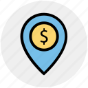 dollar, dollar navigation, gps, location, location pin, navigation icon