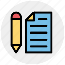 page, page and pencil, paper, pen, pencil, writing paper icon