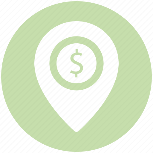 Dollar, dollar navigation, gps, location, location pin, navigation icon - Download on Iconfinder