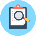 clipboard, find note, list, magnifying, search memo icon