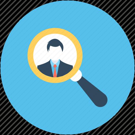 businessman identity, exploration, find person, recruitment, search person icon