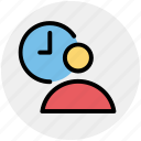 clock, employee, time, timing, user, user time icon