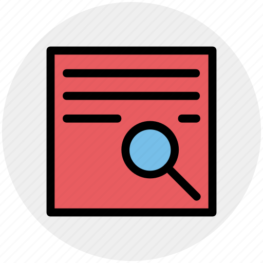 contract, magnifier, page, search, search page icon