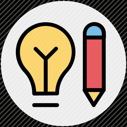 bulb, creative, idea, pencil, pencil bulb, writing icon