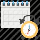 alarm clock, calendar, deadline, schedule, work management icon