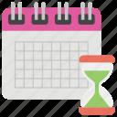 calendar, deadline, hourglass, schedule, work management
