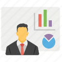 business analyst, business presentation, business professional, economist, trading manager icon